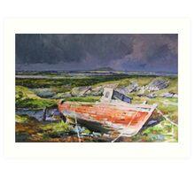 Old Boat On Shore Art Print