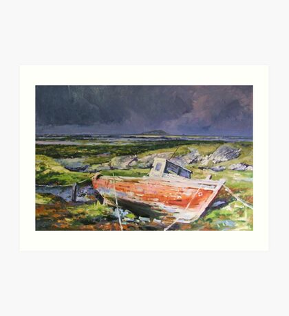 Old Boat On Shore Art Print
