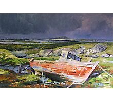 Old Boat On Shore Photographic Print