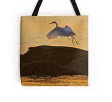 Egret to Rock at Sunrise Tote Bag