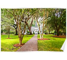 Small Church Down Brick Path Under Southern Trees Poster