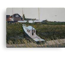 Overcast Day - The Boatyard, Highbridge in Somerset. Canvas Print