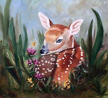 Fawn Innocence Original Oil Painting by Brenda Thour