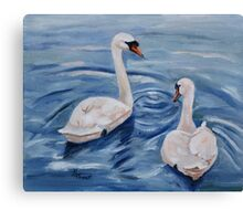 Simply Swans Original Oil Painting Canvas Print