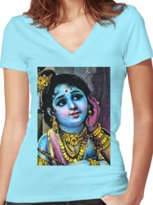 KRISHNA-44 Women's Fitted V-Neck T-Shirt