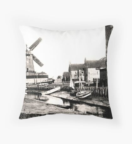 Cley Windmill sea port 1880s Throw Pillow