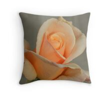 Peach Rose Opens Throw Pillow
