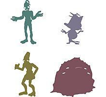 Natives - Oddworld Coloured Silhouettes Photographic Print