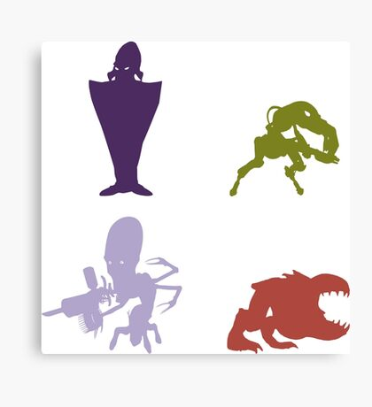 Industrialists - Oddworld Coloured Silhouettes Canvas Print