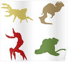 Wildlife - Oddworld Coloured Silhouettes Poster