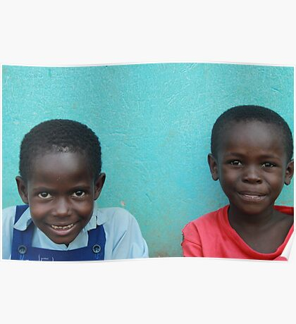 Young Couple Sitting at School - Buyantetee, Uganda Poster