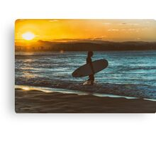 Silhouette Surfer Sunset Canvas Print