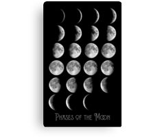 Astronomy Chart, Phases of the Moon, Lunar chart Canvas Print