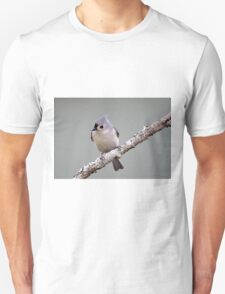 Tufted titmouse perched on a branch Unisex T-Shirt