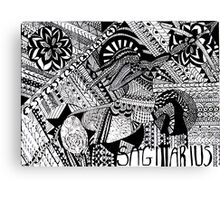 The Archer - Sagittarius Zentagle in Black and White  Canvas Print