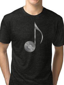 Vinyl Record Musical Eighth Note - Metallic - Steel Tri-blend T-Shirt