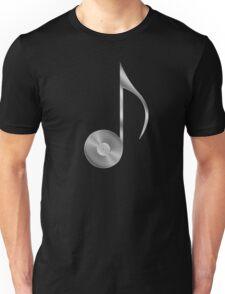 Vinyl Record Musical Eighth Note - Metallic - Steel Unisex T-Shirt