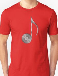 Vinyl Record Musical Eighth Note - Metallic - Steel Unisex T-Shirt