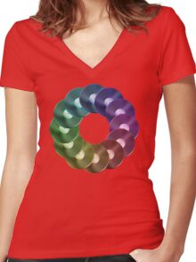 Ring of Vinyl LP Records - Metallic - Rainbow Women's Fitted V-Neck T-Shirt
