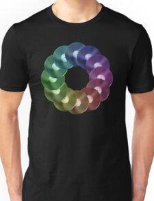 Ring of Vinyl LP Records - Metallic - Rainbow Unisex T-Shirt