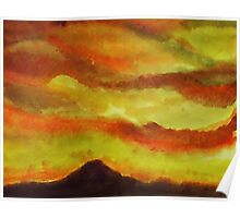 Sunrise over San Miguel, watercolor Poster