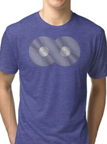 Vinyl Record Infinity - Mobius Strip - Metallic - Silver Tri-blend T-Shirt