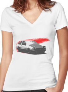 RedSlash AE86  Women's Fitted V-Neck T-Shirt