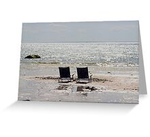 Two beach chairs on a sand bar Greeting Card