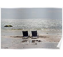 Two beach chairs on a sand bar Poster