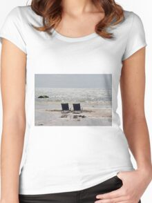 Two beach chairs on a sand bar Women's Fitted Scoop T-Shirt