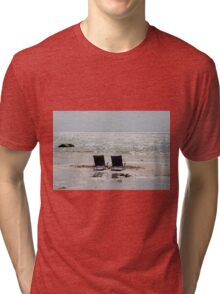 Two beach chairs on a sand bar Tri-blend T-Shirt