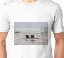 Two beach chairs on a sand bar Unisex T-Shirt
