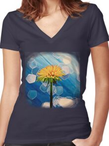 Dandelion Women's Fitted V-Neck T-Shirt