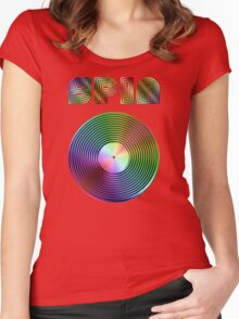 Spin - Vinyl LP Record & Text - Metallic - Rainbow Women's Fitted Scoop T-Shirt