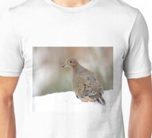 Mourning dove in the snow Unisex T-Shirt