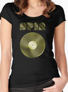Spin - Vinyl LP Record & Text - Metallic - Gold Women's Fitted Scoop T-Shirt