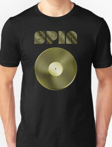 Spin - Vinyl LP Record & Text - Metallic - Gold T-Shirt