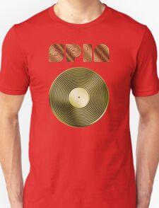 Spin - Vinyl LP Record & Text - Metallic - Gold Unisex T-Shirt