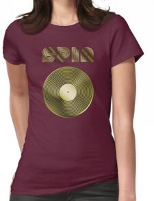 Spin - Vinyl LP Record & Text - Metallic - Gold Womens Fitted T-Shirt