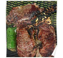 steak and zuchinni on the grill Poster