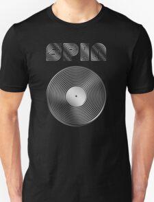 Spin - Vinyl LP Record & Text - Metallic - Steel T-Shirt