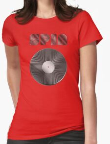 Spin - Vinyl LP Record & Text - Metallic - Steel Womens Fitted T-Shirt
