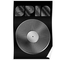 Spin - Vinyl LP Record & Text - Metallic - Steel Poster