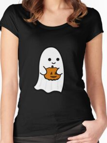 Cute Ghost's Jack o' Lantern Women's Fitted Scoop T-Shirt