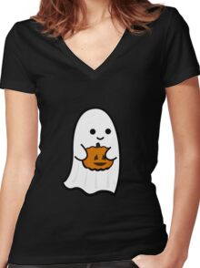 Cute Ghost's Jack o' Lantern Women's Fitted V-Neck T-Shirt