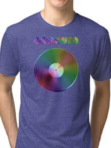 Groovin - Vinyl LP Record & Text - Metallic - Rainbow Tri-blend T-Shirt