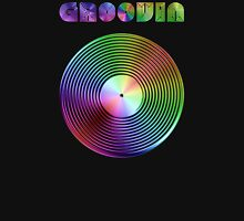 Groovin - Vinyl LP Record & Text - Metallic - Rainbow Unisex T-Shirt