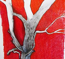 gum tree with red back ground by donnamalone