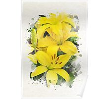 Lily Watercolor Art Poster