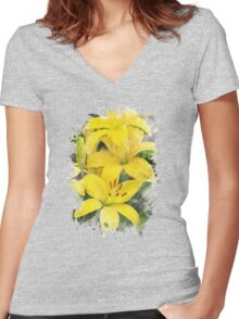 Lily Watercolor Art Women's Fitted V-Neck T-Shirt